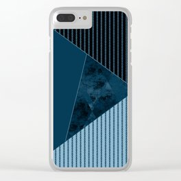 Valencia 3. Abstract, black, blue geometric pattern. Clear iPhone Case