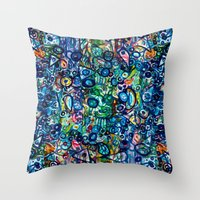 underwater Throw Pillows featuring Underwater by Lily Mandaliou