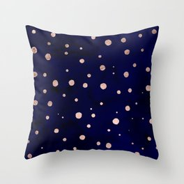 Navy blue watercolor chic rose gold modern confetti polka dots pattern Throw Pillow