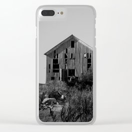 Abandoned Barns (Black & White Photography) Clear iPhone Case