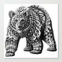 ornate Canvas Prints featuring Ornate Bear by BIOWORKZ