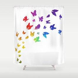 Rainbow Butterflies Shower Curtain