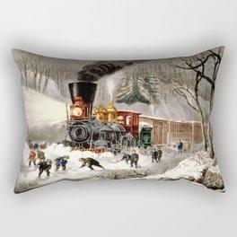 Snow Bound: Vintage Currier & Ives Railroad Scene Rectangular Pillow
