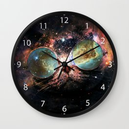 Cool Space Cat with Telescope Glasses in space Wall Clock
