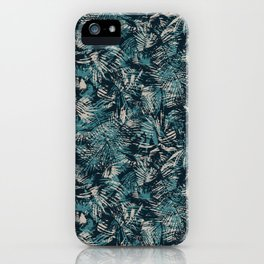 Palm Leaves in teal and beige iPhone Case