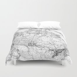 Vintage Map of Canada (1898) BW Duvet Cover