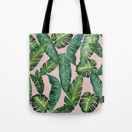 Jungle Leaves, Banana, Monstera II Pink #society6 Tote Bag