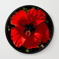 hibiscus Wall Clocks featuring Hibiscus by Armine Nersisian