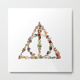Truly Floral Deathly Hallows Metal Print