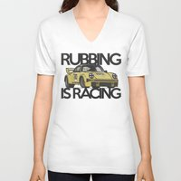 porsche V-neck T-shirts featuring Porsche Racecar by CarGuyCam