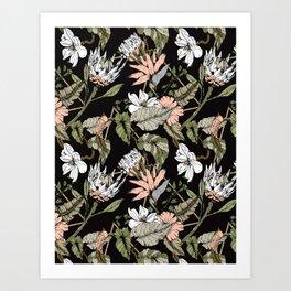 Dark pattern botanical boho Art Print