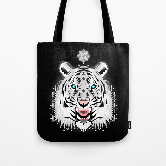 Silver Geometric Tiger Tote Bag