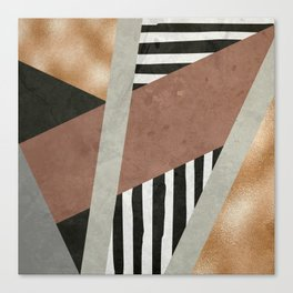 Abstract Geometric Composition in Copper, Brown, Black Canvas Print