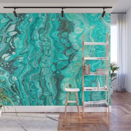 Turquoise Blue Marble Painting Wall Mural