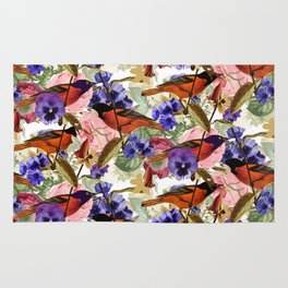 Floral Birds Pattern Rug