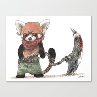 bouletcorp Canvas Prints featuring Panda Roux Barbare by Bouletcorp