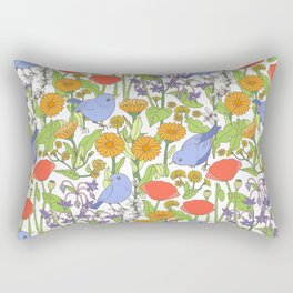 Birds and Wild Blooms Rectangular Pillow
