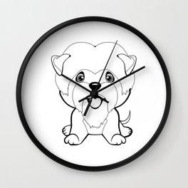 dog Affenpinscher sitting. flat design. Lovely linear dog. Illustration of children. Funny baby animal. Wall Clock