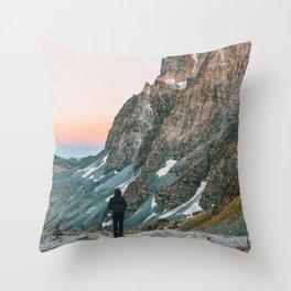 sunset on the monviso Throw Pillow