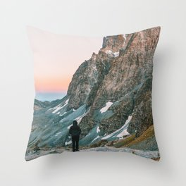 sunset on the monviso Throw Pillow