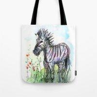 zebra Tote Bags featuring Zebra by Olechka