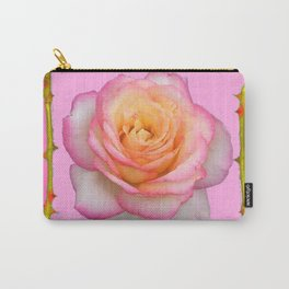 ROSE & RAMBLING THORNY CANES PINK BORDER PATTERNS Carry-All Pouch