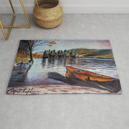 'Dome Island' Lake George Original Art Drawing - Canoe - Lake Wall Art Decor Rug