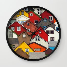 Colourful Houses Wall Clock