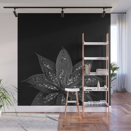 Gray Black Agave with Black Silver Glitter #2 #shiny #tropical #decor #art #society6 Wall Mural