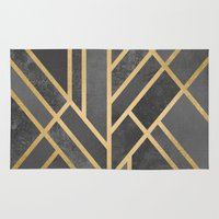deco Area & Throw Rugs featuring Art Deco Geometry 1 by Elisabeth Fredriksson