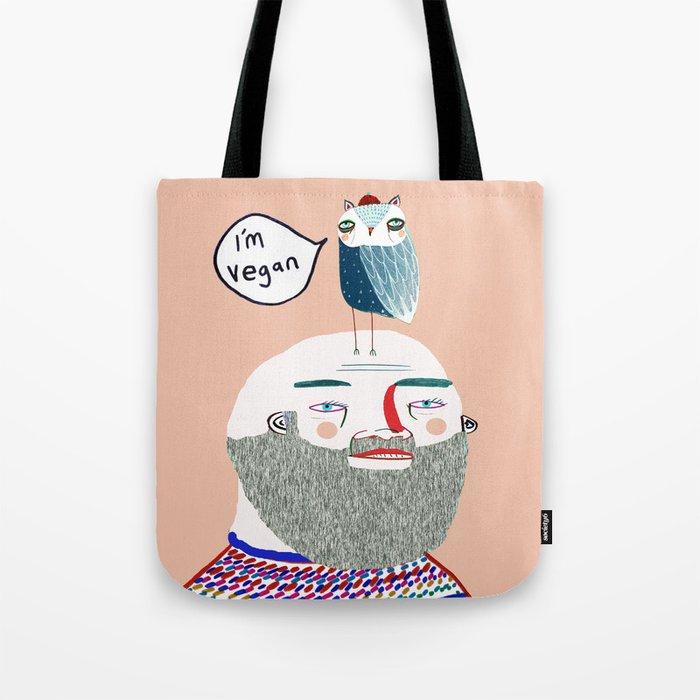 I'm Vegan. Vegan art, vegan, illustration, funny, vegan print Tote Bag