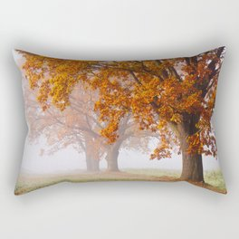 Oaks in the misty Autumn morning (Golden Polish Autumn) Rectangular Pillow