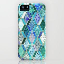Sapphire & Emerald Diamond Patchwork Pattern iPhone Case