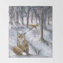 Red foxes Throw Blanket