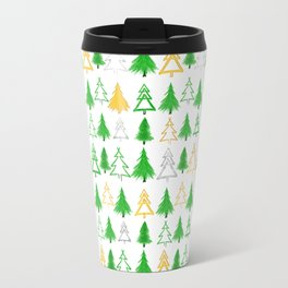 Cute Christmas Tree Pattern - Green Gold and Silver Travel Mug