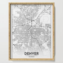 Minimal City Maps - Map Of Denver, Colorado, United States Serving Tray
