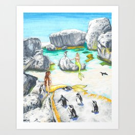 Boulders Beach Penguins and Mermaids Art Print