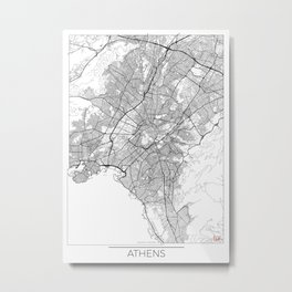 Athens Map White Metal Print