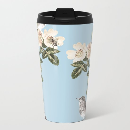Birds and the Bees Blue Metal Travel Mug