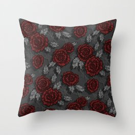 dark roses Throw Pillow