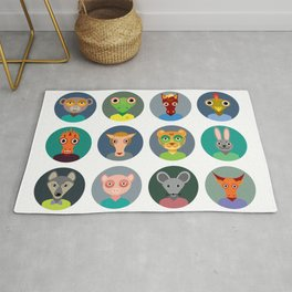 Chinese zodiac collection, Set of animals faces circle icons in Trendy Flat Style Rug