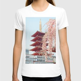 Pink Flowers in Front of Temple (Color) T-shirt