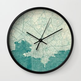 Montevideo Map Blue Vintage Wall Clock