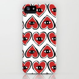 Red eye heart iPhone Case
