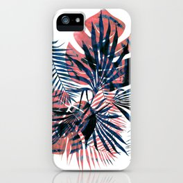 Orange-blue tropical leaves iPhone Case