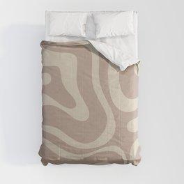 Liquid Swirl Retro Abstract Pattern in Creamy Cocoa Comforters