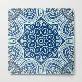 Blue and Gold  flowers pattern Metal Print