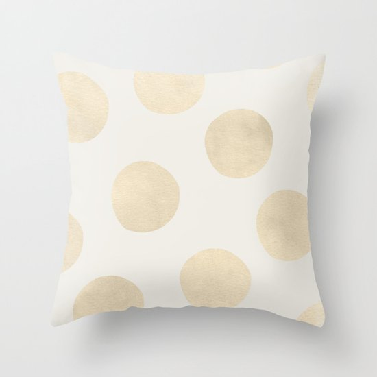 Gold Polka Dots Throw Pillow