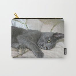Grey Kitten Relaxed On A Bed  Carry-All Pouch