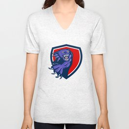 Black Panther Attacking Claws Crest Retro Unisex V-Neck